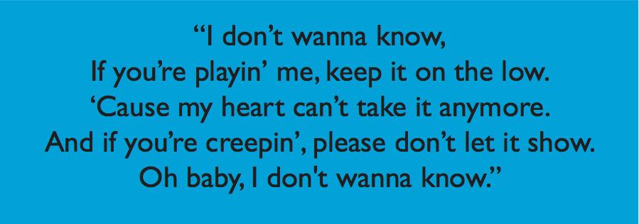 Maroon 5 - Don't Wanna Know Lyrics | MetroLyrics